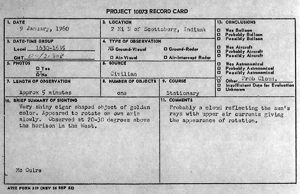 Blue Book Record Card